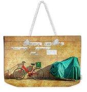 Intere Red Bicycle With Green Basket Weekender Tote Bag