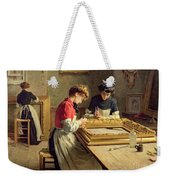 Interior Of A Frame Gilding Workshop Weekender Tote Bag by Louis Emile Adan