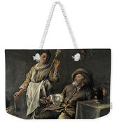 Interior Scene In Front Of A Fireplace Weekender Tote Bag