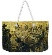 Interior With Elegant Figures Singing And Making Music By Candle Light Weekender Tote Bag