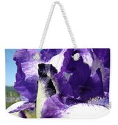 Iris Flower Art Print Purple Irises Botanical Floral Artwork Weekender Tote Bag