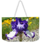 Iris Flower Purple White Irises Nature Landscape Giclee Art Prints Baslee Troutman Weekender Tote Bag
