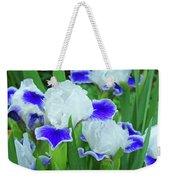 Iris Flowers Art Prints Blue White Irises Floral Baslee Troutman Weekender Tote Bag