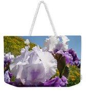 Iris Flowers Purple White Irises Poppy Hillside Landscape Art Prints Baslee Troutman Weekender Tote Bag