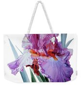 Watercolor Of A Tall Bearded Iris In Pink, Lilac And Red I Call Iris Pavarotti Weekender Tote Bag