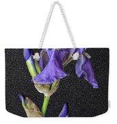 Iris On Black Leather Weekender Tote Bag