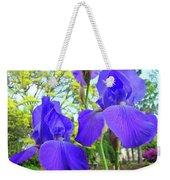 Irises Floral Garden Art Print Blue Purple Iris Flowers Baslee Troutman Weekender Tote Bag