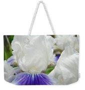 Irises Flowers Art Print Gifts White Purple Iris Flower Weekender Tote Bag
