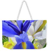 Irises Flowers Artwork Blue Purple Iris Flowers 1 Botanical Floral Garden Baslee Troutman Weekender Tote Bag