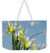 Irises In Blue Sky Art Print Spring Iris Flowers Baslee Troutman Weekender Tote Bag