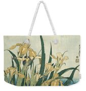 Irises With A Grasshopper Weekender Tote Bag