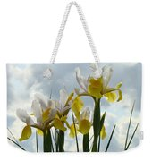 Irises Yellow White Iris Flowers Storm Clouds Sky Art Prints Baslee Troutman Weekender Tote Bag