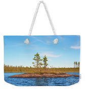 Island In The Form Of A Smooth Rock With Several Pines Weekender Tote Bag