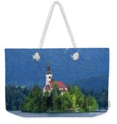 Island With Church On Bled Lake, Slovenia Weekender Tote Bag