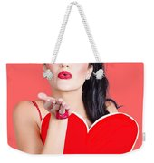 Isolated Pin Up Woman Holding A Heart Shaped Sign Weekender Tote Bag