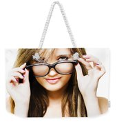 Isolated Sexy Girl Wearing Glasses On White Weekender Tote Bag