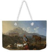 Italian Landscape With Girl Milking A Goat Weekender Tote Bag