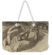 Italian Peasants With Wine Flasks Weekender Tote Bag