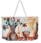 Italian Wine And Flower Vase On Table Weekender Tote Bag