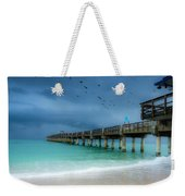 It's Getting Stormy At The Pier Weekender Tote Bag