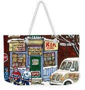 J J Joubert Vintage Milk Truck At Marvin's Grocery Montreal Memories Street Hockey Best Hockey Art Weekender Tote Bag