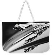 Jaguar Car Hood Ornament Black And White Weekender Tote Bag