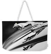 Jaguar Car Hood Ornament Black And White Weekender Tote Bag