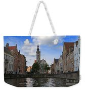 Jan Van Eyck Square With The Poortersloge From The Canal In Bruges Weekender Tote Bag