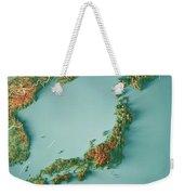 Japan 3d Render Topographic Map Border Weekender Tote Bag