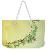 Japan Map Square Cities Straight Pin Vintage Weekender Tote Bag