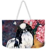 Japanese Chin And Hydrangeas Weekender Tote Bag