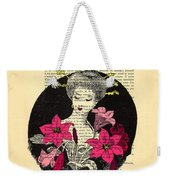 Japanese Lady With Cherry Blossoms Weekender Tote Bag