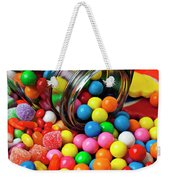 Jar Spilling Bubblegum With Candy Weekender Tote Bag by Garry Gay