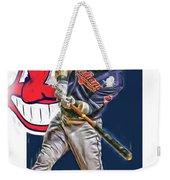 Jason Kipnis Cleveland Indians Oil Art Weekender Tote Bag