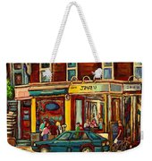 Java U Coffee Shop Montreal Painting By Streetscene Specialist Artist Carole Spandau Weekender Tote Bag