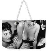 Jayne Mansfield Hollywood Actress And, Italian Actress Sophia Loren 1957 Weekender Tote Bag