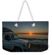 Jeep Driver Watching Sunset Over Peaceful River Weekender Tote Bag