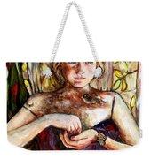 Girl And Bird Painting Weekender Tote Bag