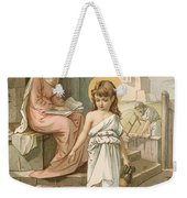 Jesus As A Boy Playing With Doves Weekender Tote Bag by John Lawson