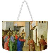 Jesus Opens The Eyes Of A Man Born Blind Weekender Tote Bag by Duccio di Buoninsegna