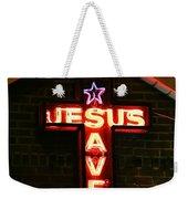 Jesus Saves In Neon Lights Weekender Tote Bag