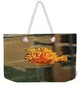 Jewel Drops - Orange Chrysanthemum Bloom Floating In A Fountain Weekender Tote Bag
