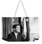 Jfk Addresses The Nation Painting Weekender Tote Bag