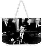 Jfk Announces Moon Landing Mission Weekender Tote Bag by War Is Hell Store