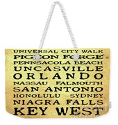 Jimmy Buffett Margaritaville Locations Black Font On Yellow Brown Texture Weekender Tote Bag