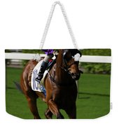 Jockey In Purple And White Riding Racehorse Weekender Tote Bag