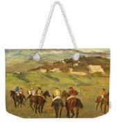 Jockeys On Horseback Before Distant Hills Weekender Tote Bag by Edgar Degas