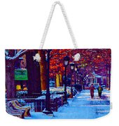 Jogging In The Snow Along Boathouse Row Weekender Tote Bag