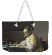 Johannes Vermeer A Lady Writing C.  Painting Weekender Tote Bag