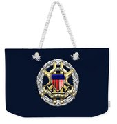 Joint Chiefs Of Staff - J C S Identification Badge On Blue Velvet Weekender Tote Bag